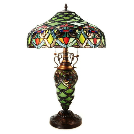 Antique Brass Tiffany Table Lamp - Warehouse of Tiffany Arielle Double Lite Table Lamp