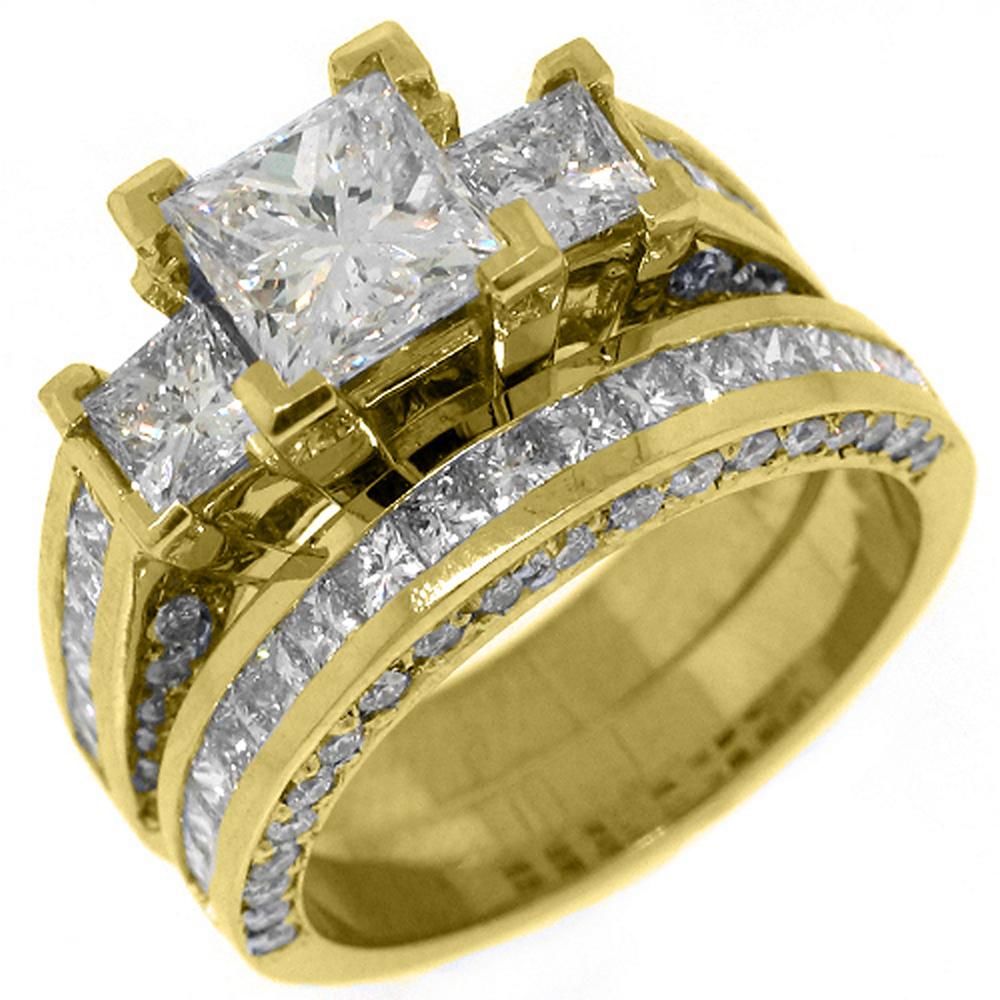 14k Yellow Gold 4 Carats Princess 3-Stone Diamond Engagem...
