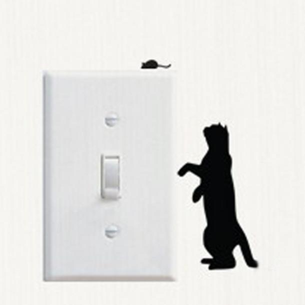 Huppin's Living Room Bedroom Bathroom Decorating Cartoon Cat Wall Switch Sticker Mural Art Decal