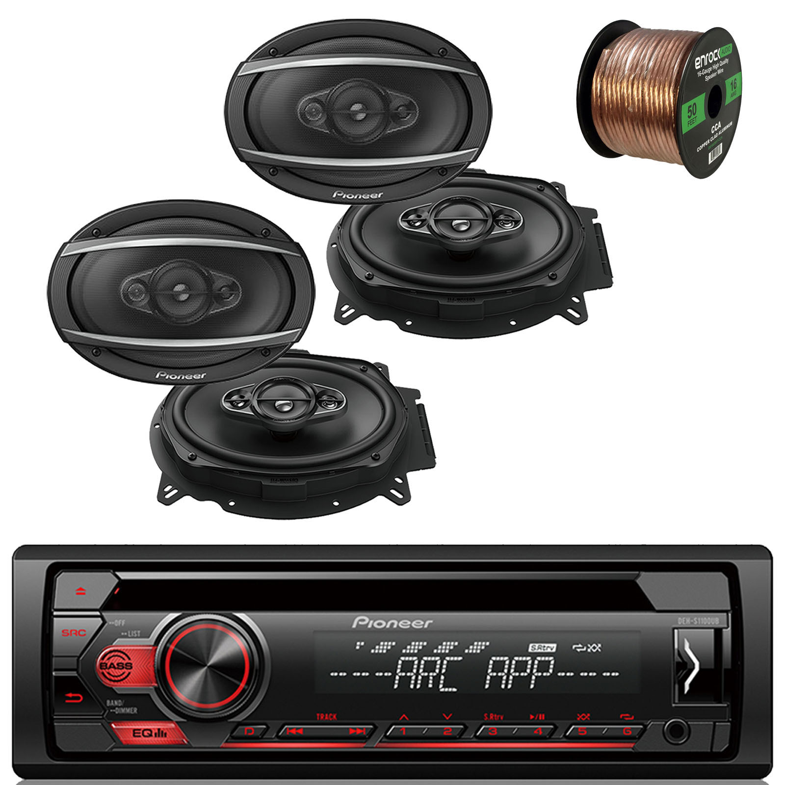 "Pioneer DEH-S1100UB Single DIN Car Stereo Bundle With 2 Sets Of JVC 6x9"" 280 Watts Coaxial Car Speaker And Enrock Speaker Wire 50 Feet 16 Gauge"