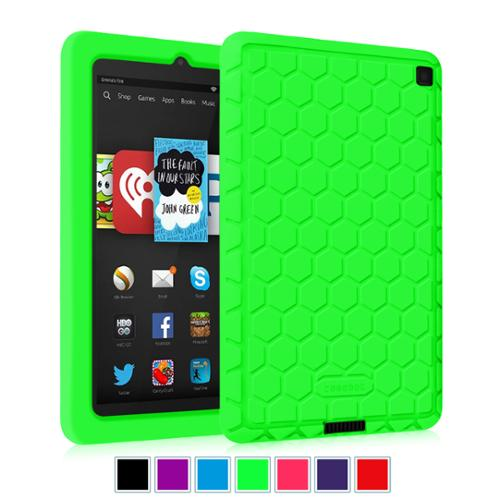 Kindle Fire HD 6 Tablet (2014 Oct Release) Silicone Case - Fintie Kids Friendly Protective Skin Cover Shock Proof, Green