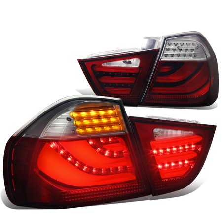 For 2009 to 2011 BMW 3 -Series 4 -Dr Sedan 3D LED Light Bar Tail Lights Lamp (Smoked Red Lens) - E90 E91 E92 (Bmw 3 Series Convertible 2009 For Sale)
