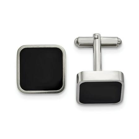 Mia Diamonds Stainless Steel Polished Black Enameled Square - Diamond Lined Cufflinks