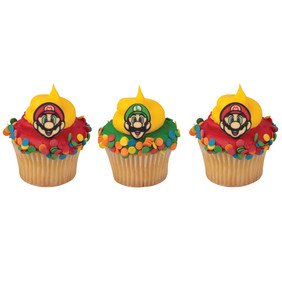 Cake Decorating Video - ON SALE Super Mario - Characters Sugarsoft Cupcake Decorations- 12 Count