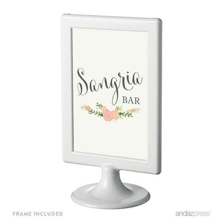 Sangria Bar Framed Floral Roses Wedding Party Signs](Rose Sangria)