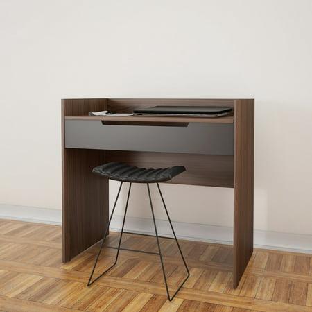 Nexera Cartel Vanity/Desk, Walnut and Charcoal