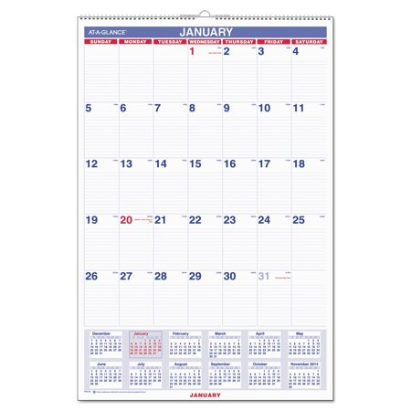 AT-A-GLANCE Monthly Wall Calendar with Ruled Daily Blocks, 20 x 30, White, 2018 - Calendar Blocks