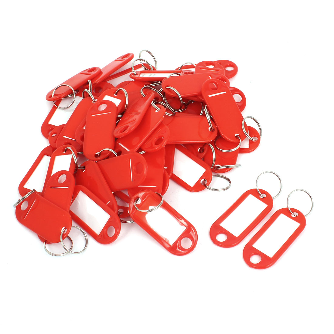50pcs Red Plastic Luggage Fobs ID Label Name Tag Badge Clip Holder Keyring