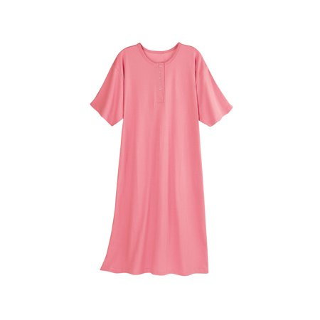 Catalog Classics Women's Long Henley Nightshirt - Pajama Sleep