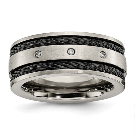 Titanium Black Plated Cable Diamonds 10mm Brushed Wedding Ring Band Size 11.00 Man Fancy Fashion Jewelry Dad Mens Gift Set