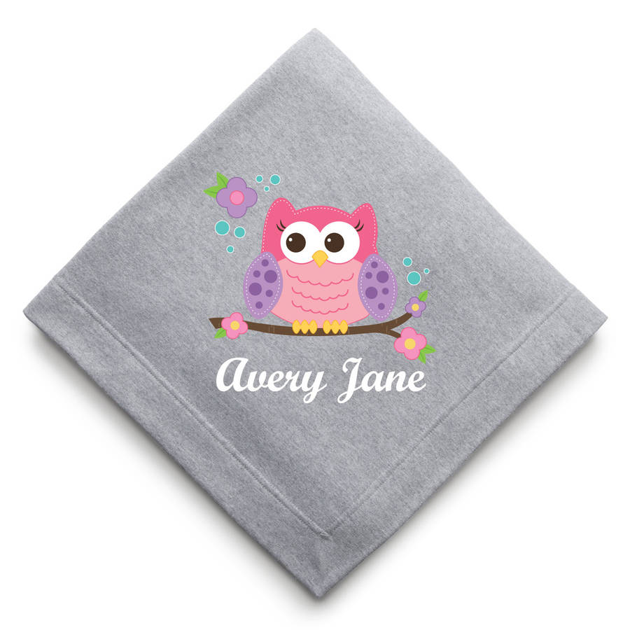 Personalized Cozy Sweatshirt Blanket, Sweet Owl, Unicorn or Pirate