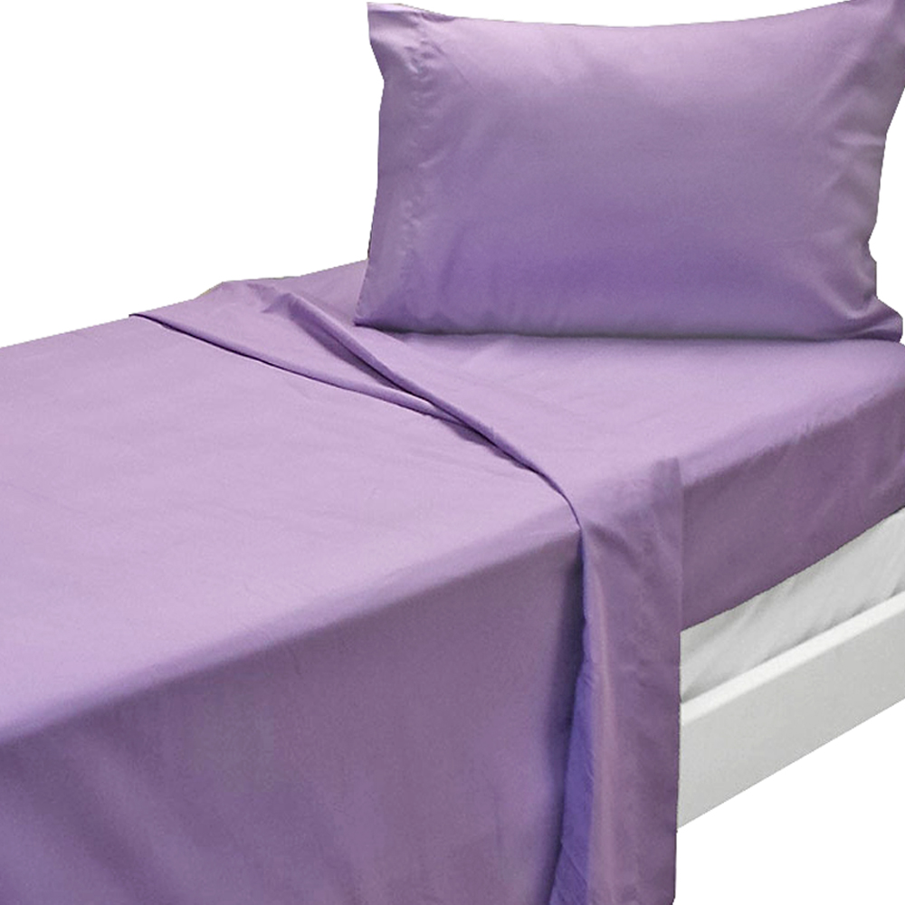 3pc Purple Twin XL Bed Sheet Set Solid Color Bedding Accessories