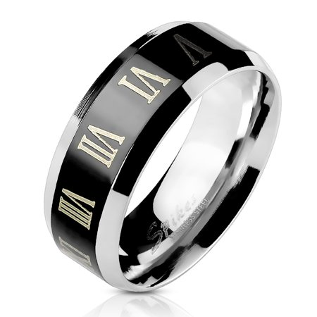 8mm Center Black IP with Roman Numerals Beveled Edge Band Ring Stainless Steel (SIZE: 9)