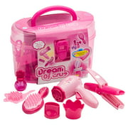 Kids Beauty Salon Set Toys Little Girl Makeup Kit Pretend Play Hair Station with Case, Hairdryer, Brush,Mirror & Styling(17pcs) Toy for little girl 1 2 3 4 Years Old