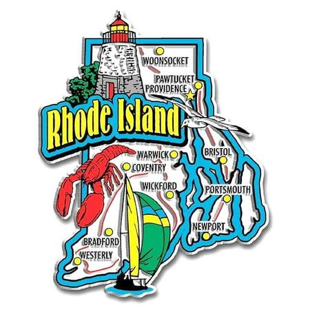 Rhode Island Motto - Rhode Island Jumbo State Map Fridge Magnet