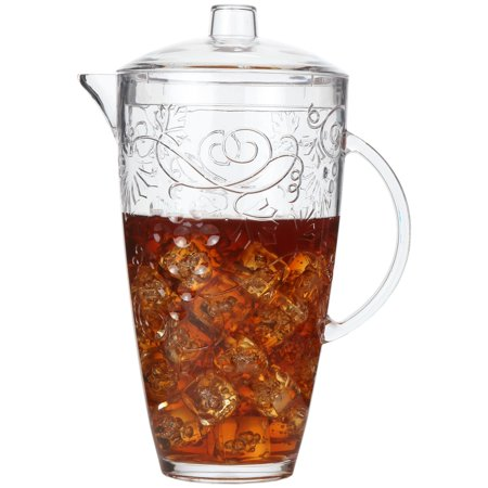 Lily's Home Break-Resistant Plastic Pitcher with Lid, Food-Safe and BPA-Free, Ideal for Indoor or Outdoor Use for Lemonade, Iced Tea, Beer or Water, Grapes and Vines Design (78 oz. Capacity) (Plastic Dishwasher Safe Pitcher)