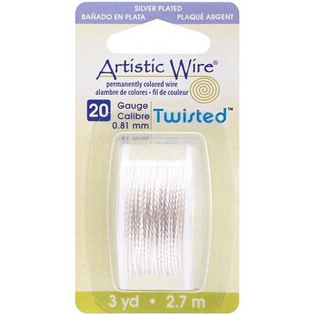 Beadalon Artistic Wire Twisted Round, 3 Yds/pkg, 20 Gauge, Silver