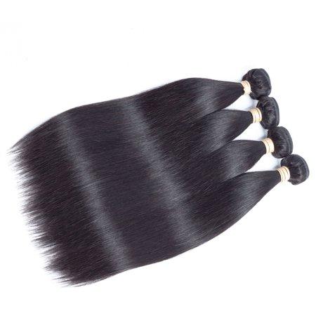 Allrun Peruvian Virgin Straight Hair Weaves Soft Human Hair Weft Unprocessed Virgin Peruvian Straight Hair 4 Bundle Deals,