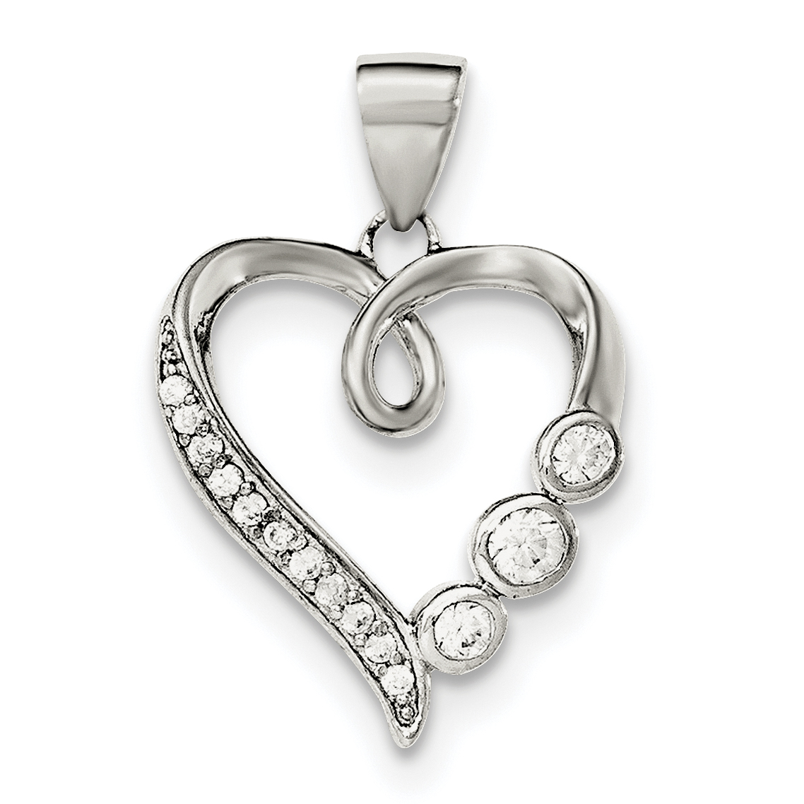 Sterling Silver Polished w//CZ Heart Pendant