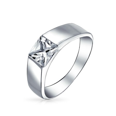 - Mens Simple Princess Cut Square AAA CZ Cubic Zirconia Wedding Band Engagement Ring Pinky Ring For Men Sterling Silver