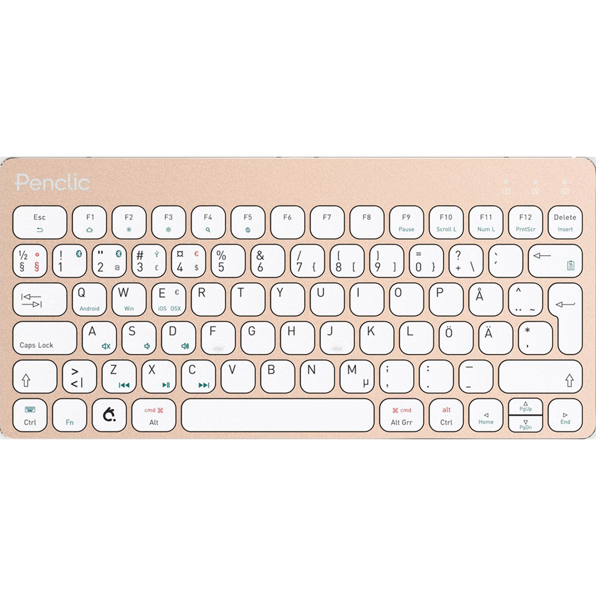 Prestige International Penclic 2058-US KB3 Mini keyboard (Bt/Wired)Gold