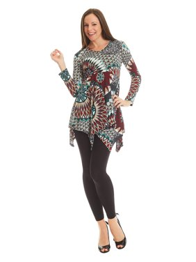 702b79b8 Product Image Made By Johnny MBJ WT1316 Womens Print V neck Long Sleeve  Side Panel Tunic Top XXL