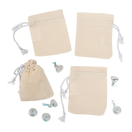 Fun Express - Diy Mini Canvas Drawstring Bags 12 pc - Craft Kits - DYO - Fabric - Apparel - 12 Pieces - Diy Halloween Gift Bags