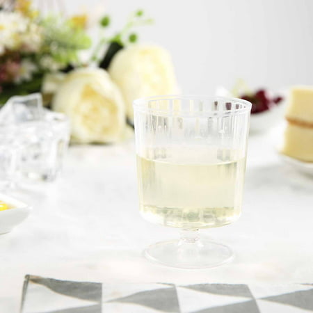 BalsaCircle Clear 11 pcs 8 oz Disposable Plastic Wine Glasses - Wedding Reception Party Buffet Catering Tableware