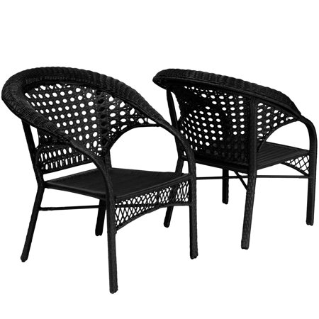 Maria Black All-Weather Wicker Fan Back Outdoor Club Chair - Set of