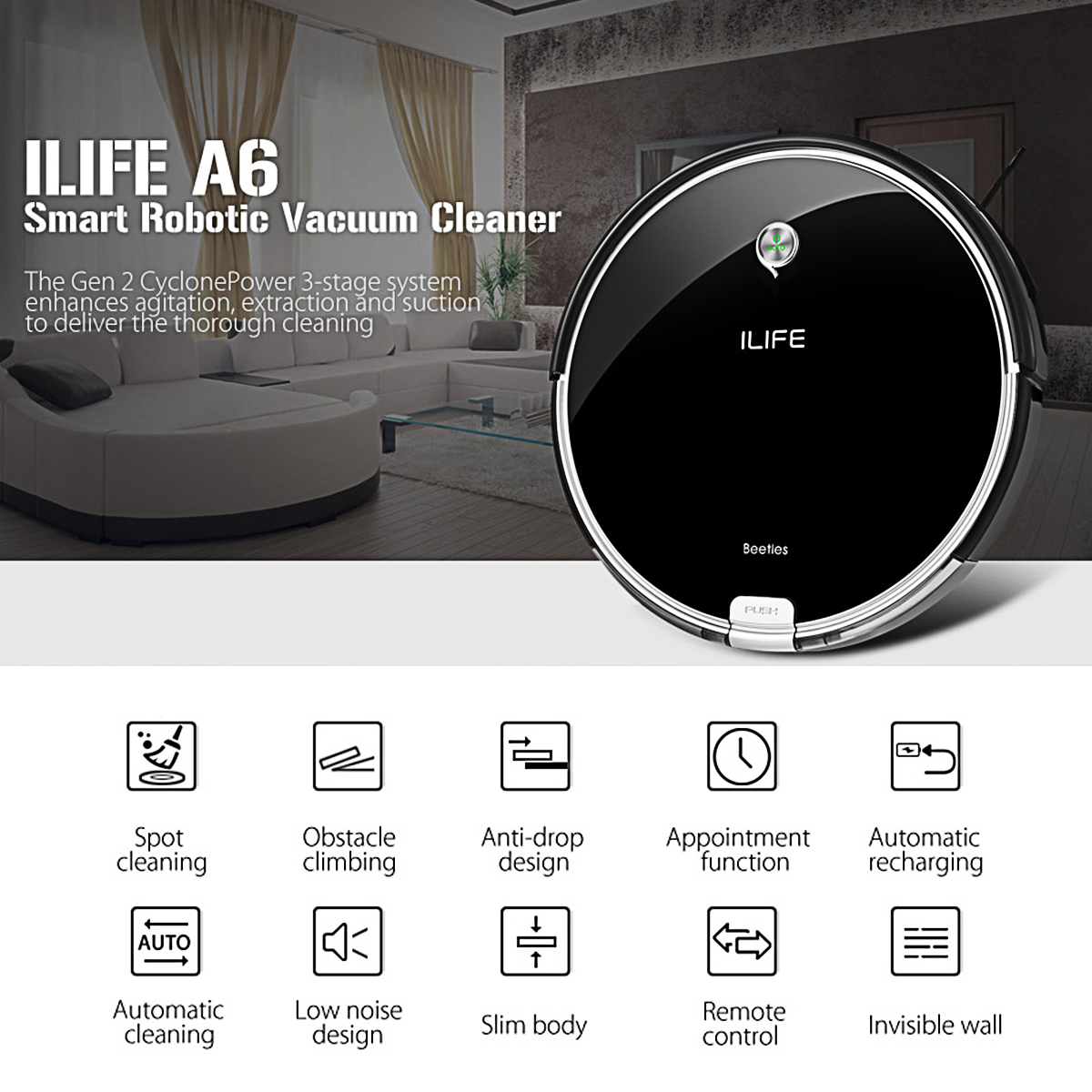 ILIFE A6 Smart Cleaning Vacuum Robot brush Powerful Dual ...