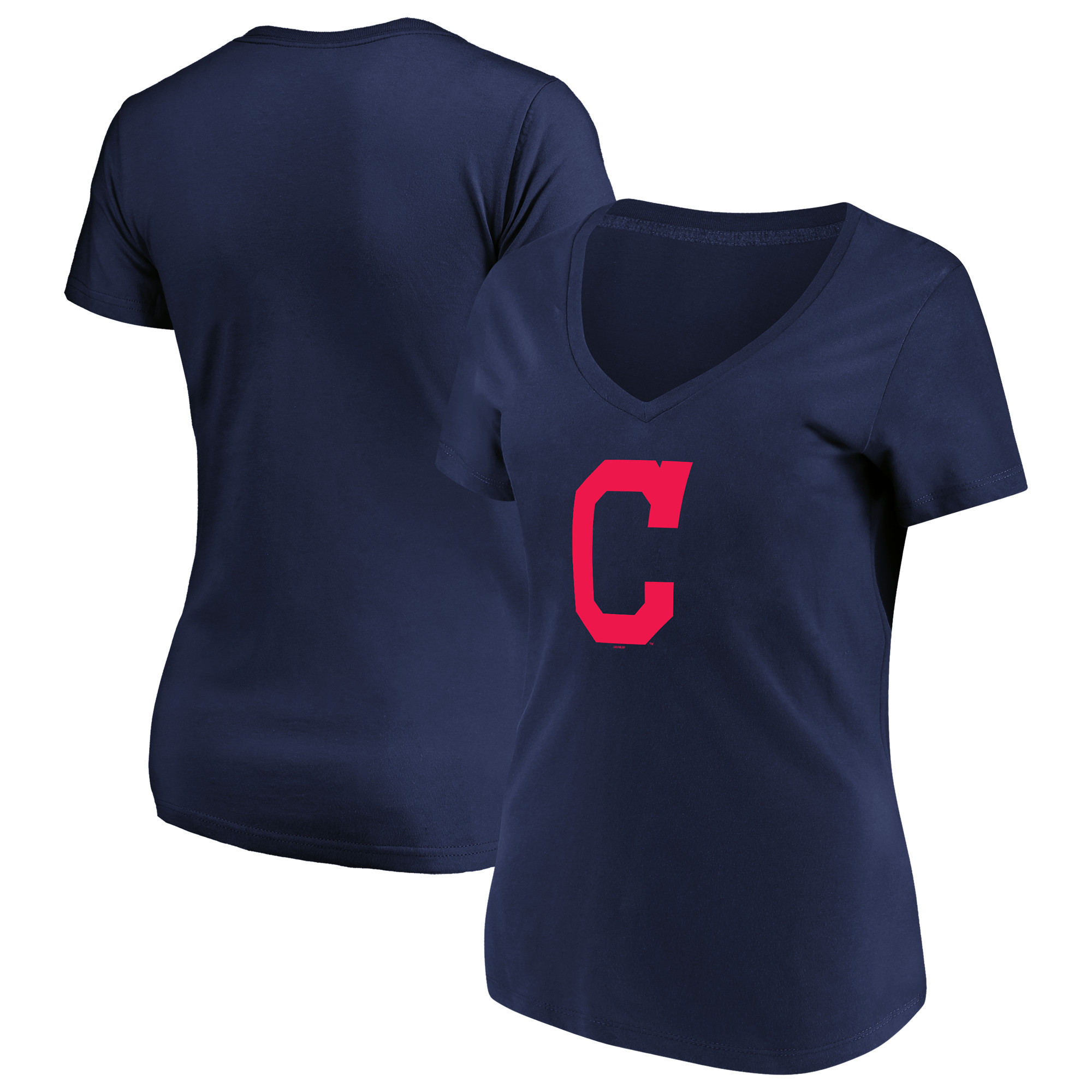 Women's Majestic Navy Cleveland Indians Top Ranking V-Neck T-Shirt