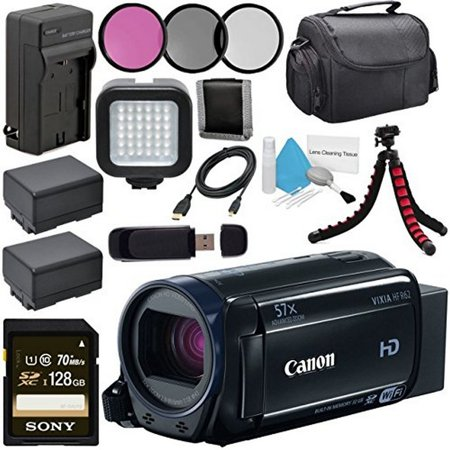 Canon 32GB VIXIA HF R62 Full HD Camcorder + BP-727 High Capacity Battery + External Rapid Charger + Sony 128GB SDXC Card + Compact Camcorder Case + Flexible Tripod + LED Light (Best Superzoom Compact Camera For Low Light)