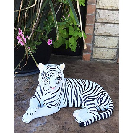 Large Exotic White Siberian Ghost Tiger At Rest 15.5