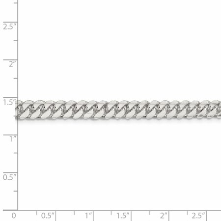 925 Sterling Silver 6.4mm Domed Link Curb Bracelet Chain 8 Inch Man Fine Jewelry For Dad Mens Gifts For Him - image 3 de 8