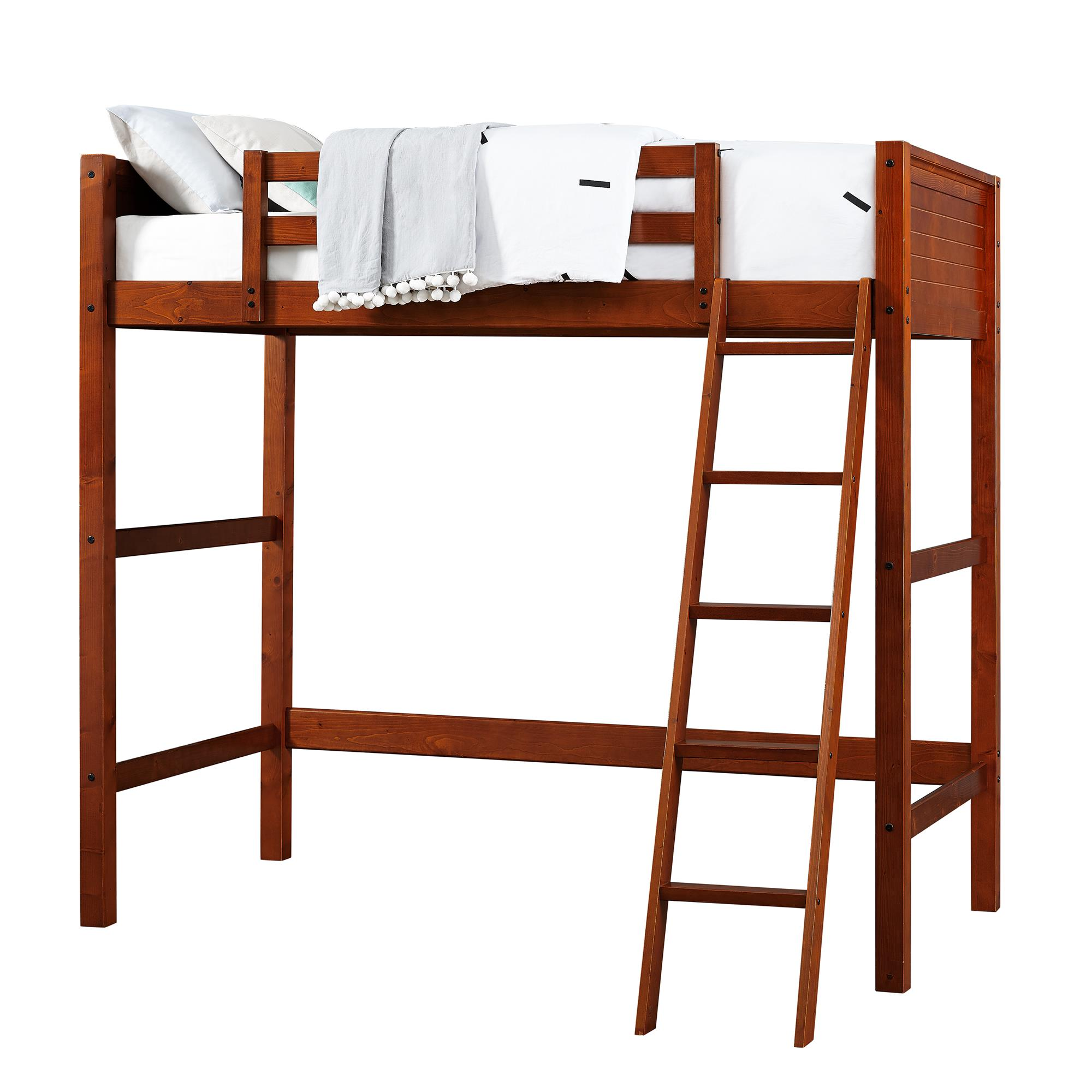 Twin Wood Loft Bed Furniture Ladder Home Storage Rails