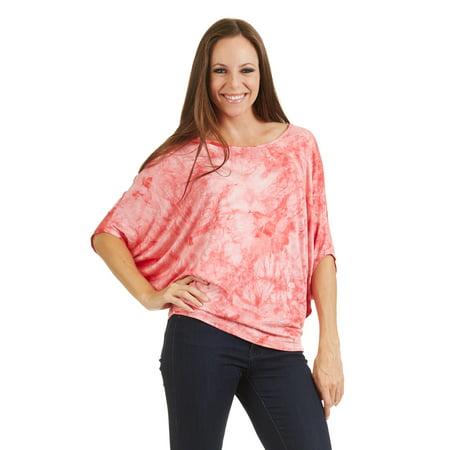 WT1096 Womens Tie Dye Scoop Neck Half Sleeve Batwing Dolman Top S Coral