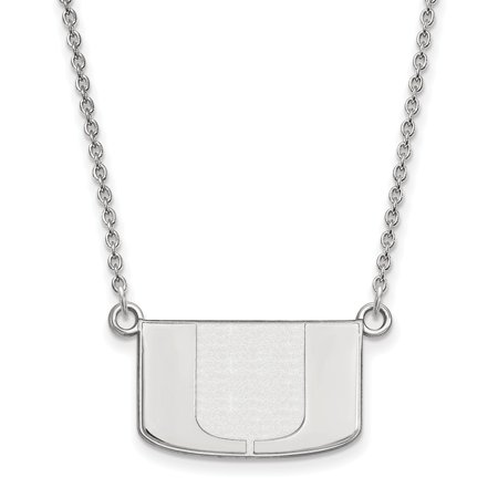 Sterling Silver LogoArt University of Miami Small Pendant w/Necklace - image 1 of 1