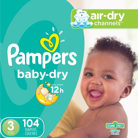 Pampers Baby-Dry Diapers Size 3 104 Count