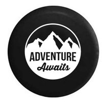 Adventure Awaits Mountain Scene Stamp Style Spare Tire Cover Vinyl Black 27.5 in