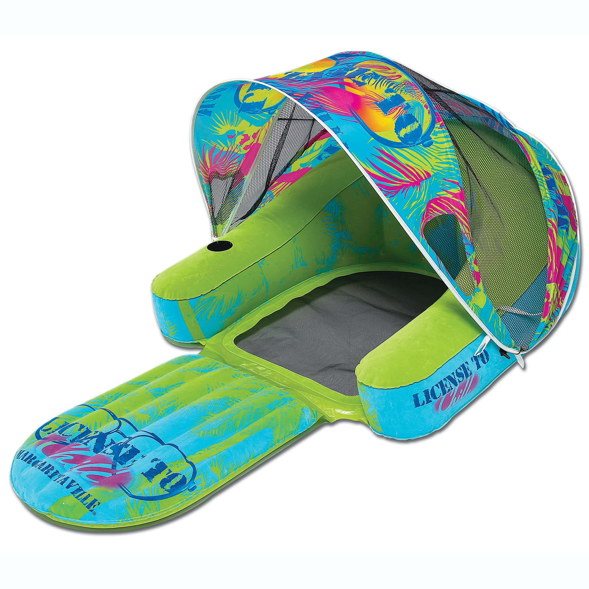 Margaritaville Inflatable Cabana Chair Lounge Raft Float with Canopy Sun Shade