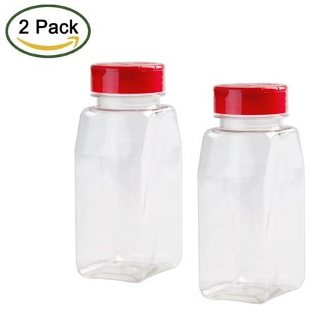 2 Pack - 16 OZ Clear Plastic Spice Bottles Jars Containers - Flap Cap Pour and Sifter Shaker Refillable. Perfect For Storing and Dispensing Herbs and Spices - BPA Free