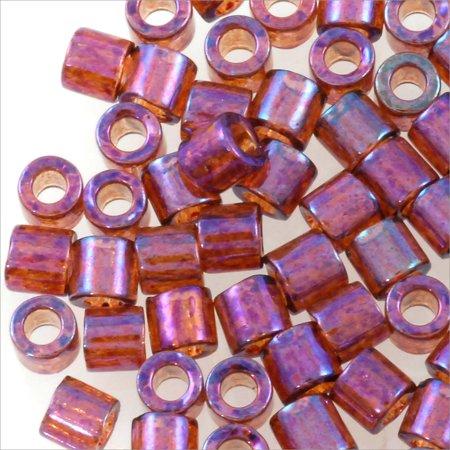 Golden Raspberry - Miyuki Delica Seed Bead 8/0 Transparent Gold Luster Raspberry AB (3 Gram Tube)