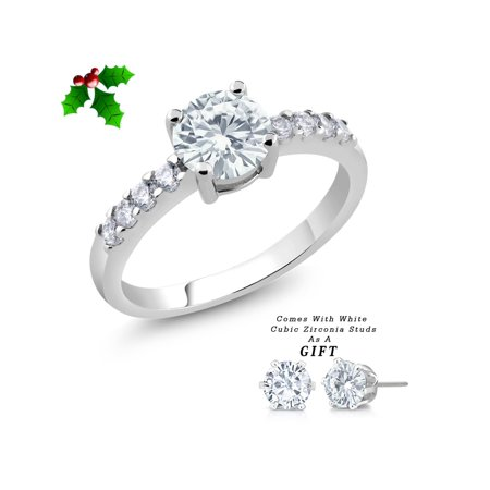 7mm Round White Cubic Zirconia, Simulated Emerald or Simulated Ruby Ring & Gift