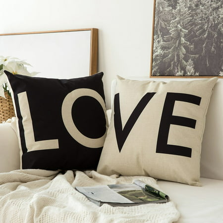 Fabricmcc Pack of 2, Valentine's Day White&Black Love Series Cotton Linen Decorative Throw Pillow Case Cushion Cover Pillowcase for Sofa Bed Car 18 x 18 Inch (Valentines Day Throw Pillows)