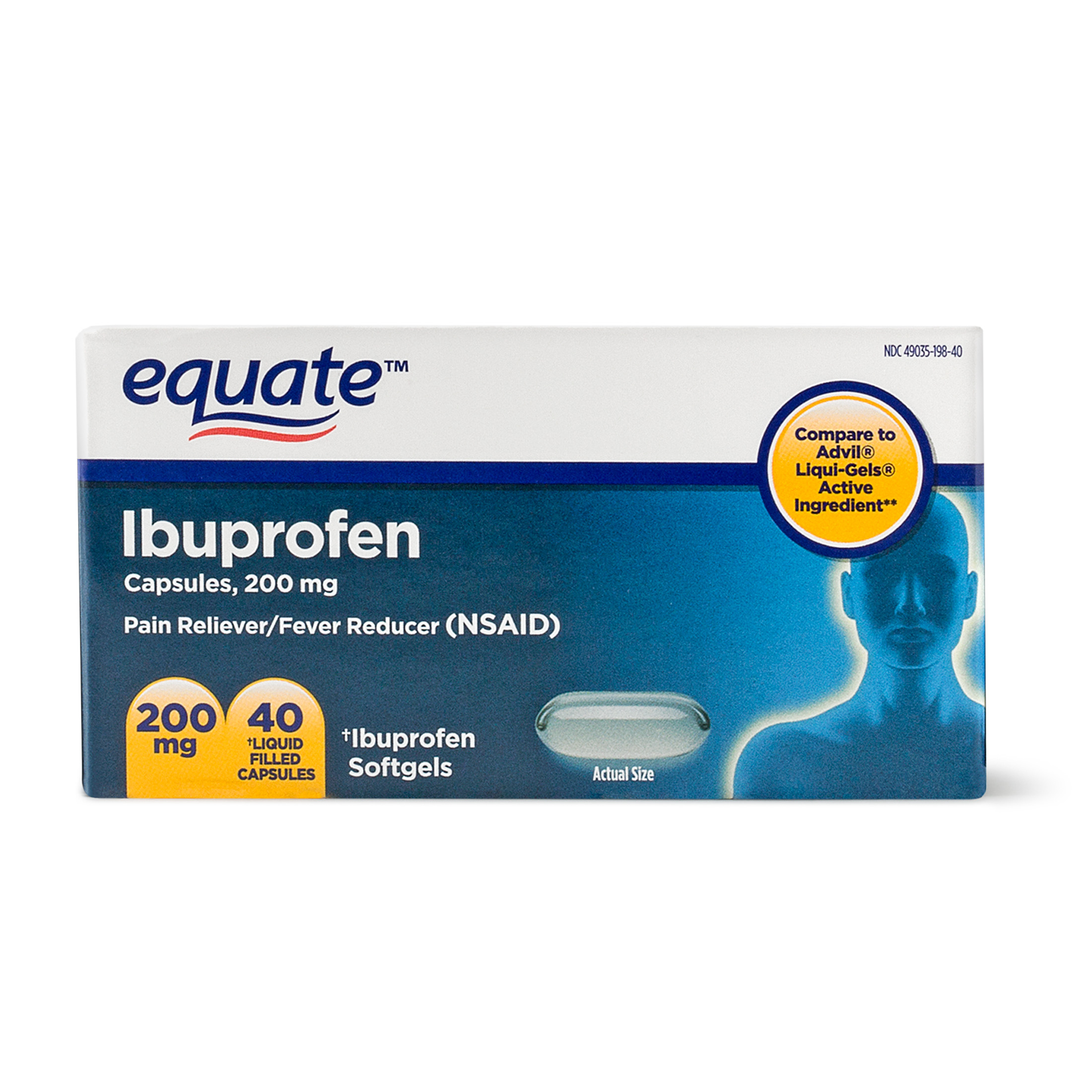 Equate Pain Relief Ibuprofen Softgels, 200 mg, 40 Ct