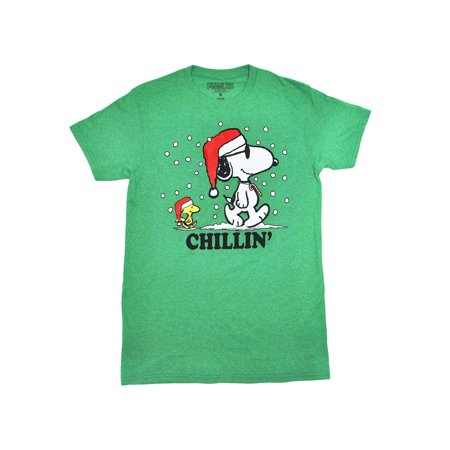 Peanuts Men's Snoopy Santa & Woodstock Chillin' Christmas T-Shirt - Green (Snoopy Halloween Shirt)