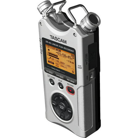 Tascam dr 40 silver 4-Track Portable Digital Recorder, Silver