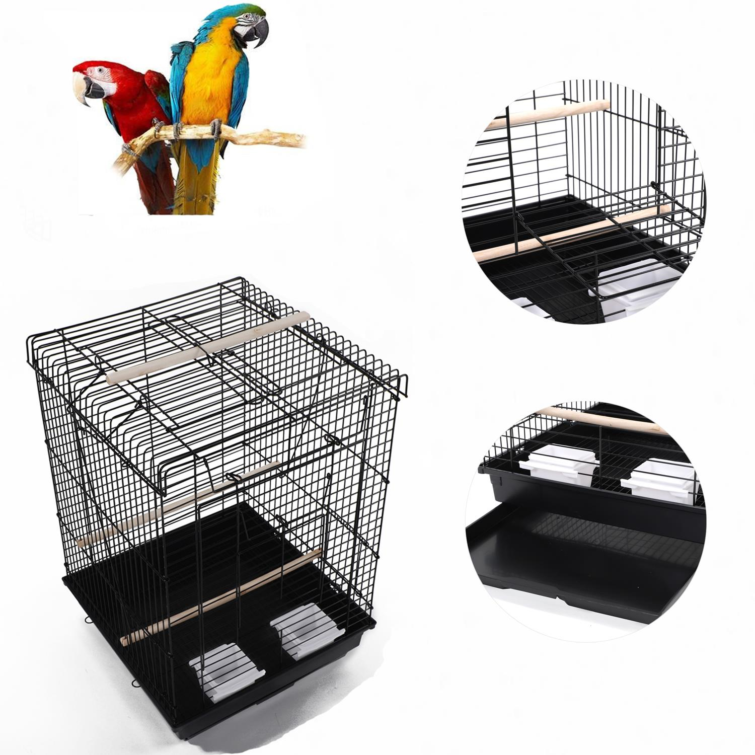 """Ktaxon 23"""" Bird Cage W/ Open Play Top- Ideal For Parakeets, Small Birds- Black"""