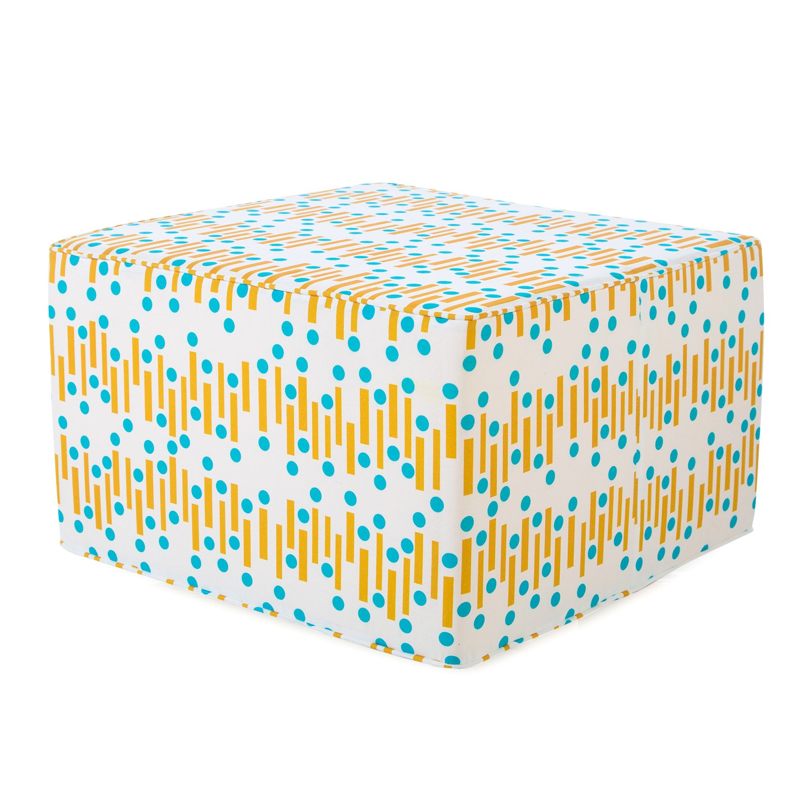 Coral Coast Mid-Century Modern 25 in. Square Pouf Outdoor Ottoman by