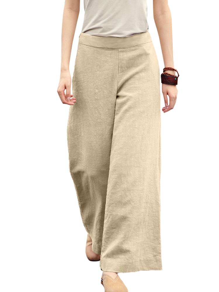 ZANZEA Womens Culottes Wide Legs Palazzo Loose Pants Casual Solid Long Trousers